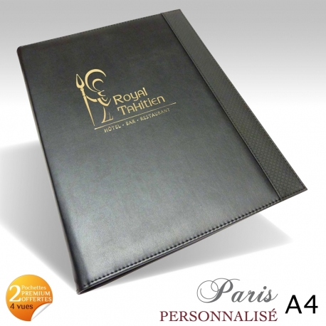protege menu restaurant collection paris a4 personnalise. Black Bedroom Furniture Sets. Home Design Ideas